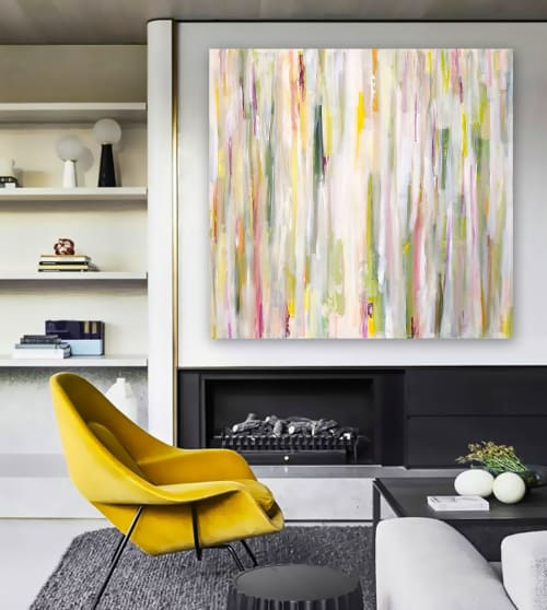 Paintings by Linnea Heide contemporary fine art seen at Private Residence, Seattle - 'SPRiNGTiME iN PARiS' original abstract painting by Linnea Heide
