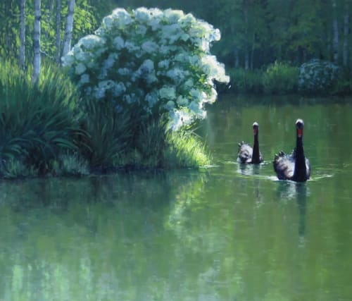 "Paintings by Kathleen Dunphy Fine Art seen at Private Residence, Palm Springs - ""Tranquility"" 44x54 o/c of Black Swans"