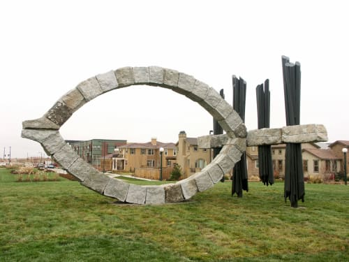 Public Sculptures by Ilan Averbuch seen at Stapleton, Denver - The Eye and the Horizon (after Monet), 2006