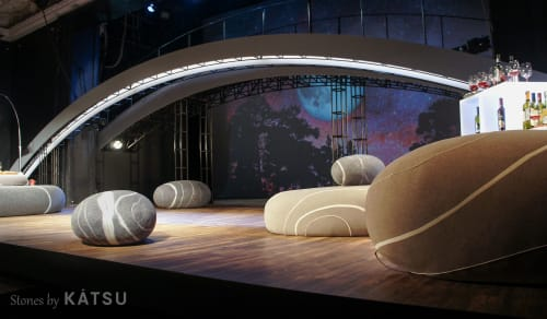 Benches & Ottomans by Katsu seen at Liteiny Theatre, Sankt-Peterburg - KATSU stones (Felted and Sewed) as decorations on the Liteyny Theatre stage