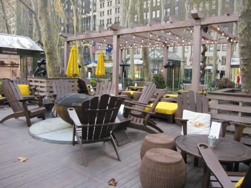 Public Sculptures by John T Unger seen at Fever-Tree Porch at Bryant Park, New York - Big Bowl O' Zen firebowl
