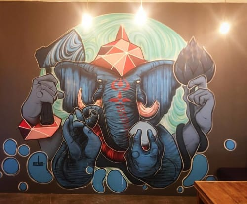 "Murals by M-Lon seen at Thai Restaurant, Surry Hills - ""Two Monsoons"""