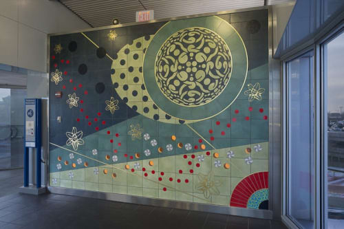 Murals by Amy Cheng seen at St. Louis Lambert International Airport, St. Louis - Nucleic Life Formation