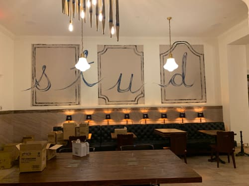 Murals by Rowan Willigan seen at Graduate New Haven, New Haven - Graduate Hotel New Haven - Plaid Ceiling Murals & Hand lettering with faux border trim