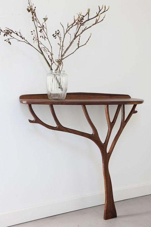 Tables by Design by Timber seen at Private Residence, London - Bespoke walnut console table