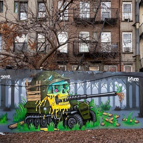 "Murals by K-NOR seen at First Street Green Cultural Park, New York - ""Dandelions"""