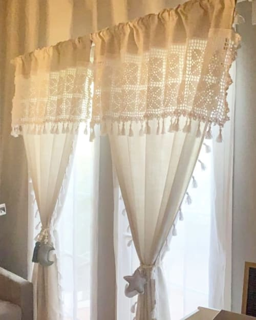Curtains & Drapes by MarryKate, @crochet.knit and macrame designer seen at Private Residence, Abu Dhabi - Lace Handcrafted curtains toping