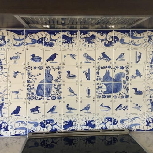 Tiles by Reptile Tiles seen at Private Residence, Ottawa - Blue and White Rabbit, Squirrel and Bird tile panel.