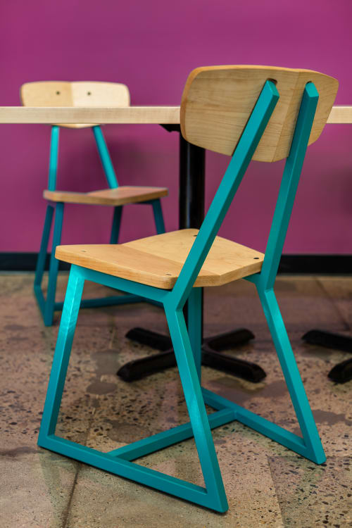 Chairs by Housefish seen at Whole Foods Market, Lakewood - Planar chairs, Tercet stools