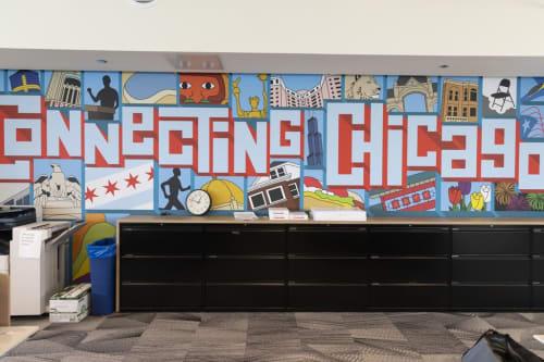 Murals by Joe Mills Illustration seen at 848 E Grand Ave, Chicago - WBEZ Murals