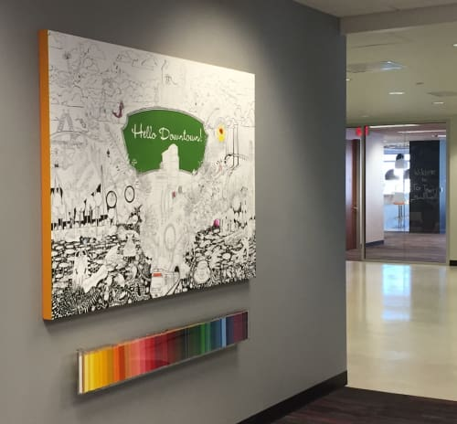 Paintings by Open Eye Art seen at Ruby Receptionists, Portland - Custom Coloring Panel