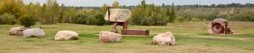 Public Sculptures by Royden Mills Professional Sculptor seen at Terwillegar Drive Northwest, Edmonton - Resonant Progression: Resonant Point