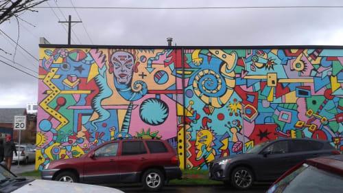 Murals by Tom Cramer seen at North Williams Avenue, Portland - The Machine mural