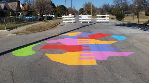 Street Murals by Holey Kids seen at McKinley Park, Oklahoma City - Clasp