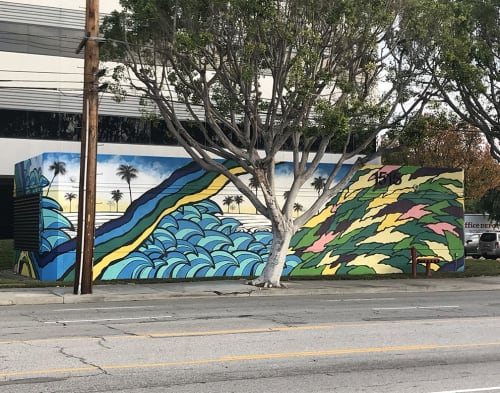 Murals by Ernie Steiner seen at 1515 W 190th St, Gardena - Southern California Landscape Mural