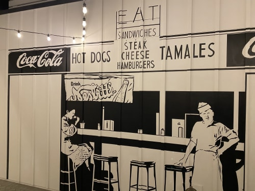 Vintage Restaurant Mural | Murals by Nichole McDaniel | Nick's Del Mar in San Diego