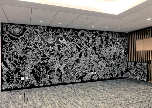 Murals by Brian Kenny seen at Brookfield Place / Battery Park City, New York - Custom mural for J. Crew