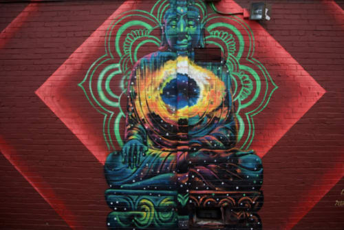 "Murals by Occasional Superstar seen at {sacred} thread yoga East Atlanta, Atlanta - ""Breath Deep"""