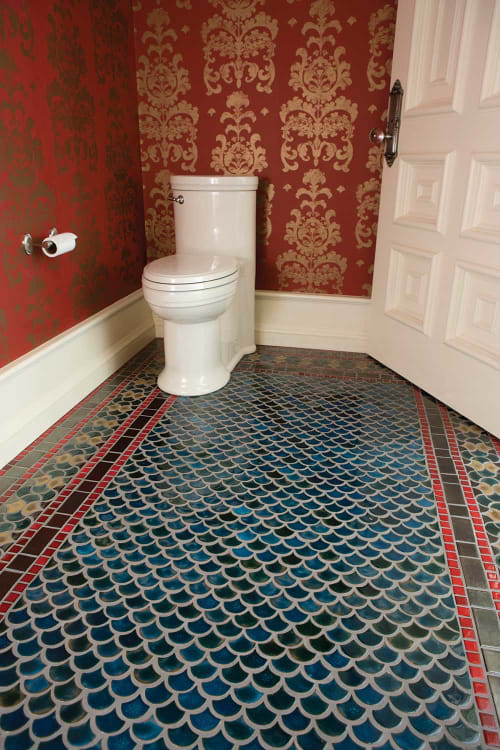 Tiles by Clay Squared to Infinity seen at Private Residence, Edina - Peacock Bathroom Floor Tile