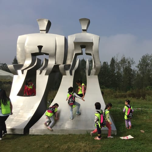 Public Sculptures by Johannes von Stumm seen at Changsha, Changsha - Mother and Son, Father and Daughter