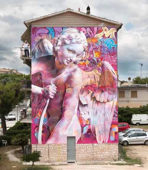 Street Murals by PichiAvo seen at Private Residence, Montecosaro - Eros