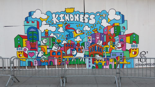 Murals by Rob Anderson seen at The Shops at SkyView Center, Queens - Kittizens of Kindness