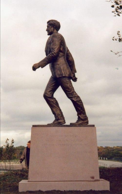 Public Sculptures by Bruce Papitto seen at Colt State Park, Bristol - U.S. Senator John Chafee monument