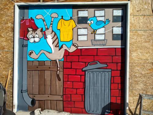 Street Murals by PixelDorian seen at Private Residence, Torrance - Cat Cartoons Murals
