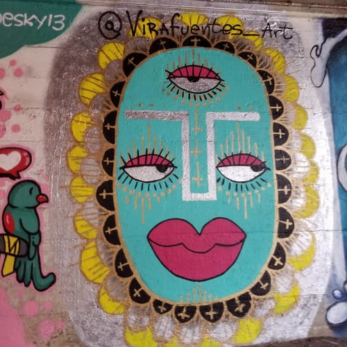 Street Murals by Natalia Virafuentes seen at East 93rd Street & South South Chicago Avenue, Chicago - Blue face with Pink lips