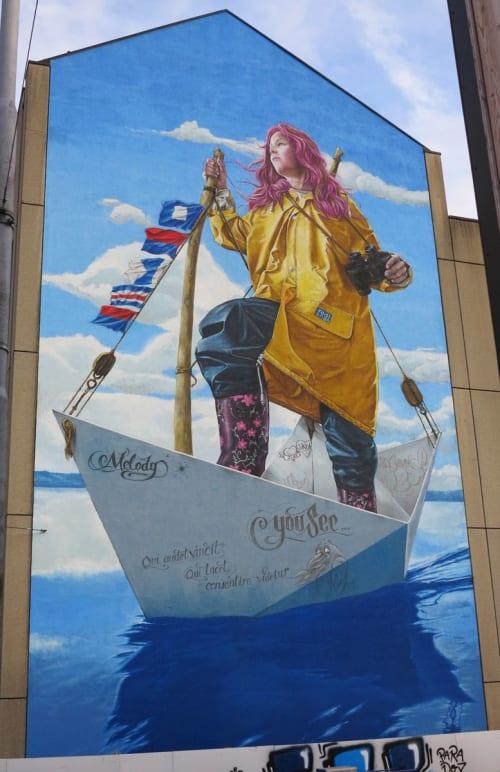Murals by Redl seen at Limmatstrasse 291, Zürich - Melody