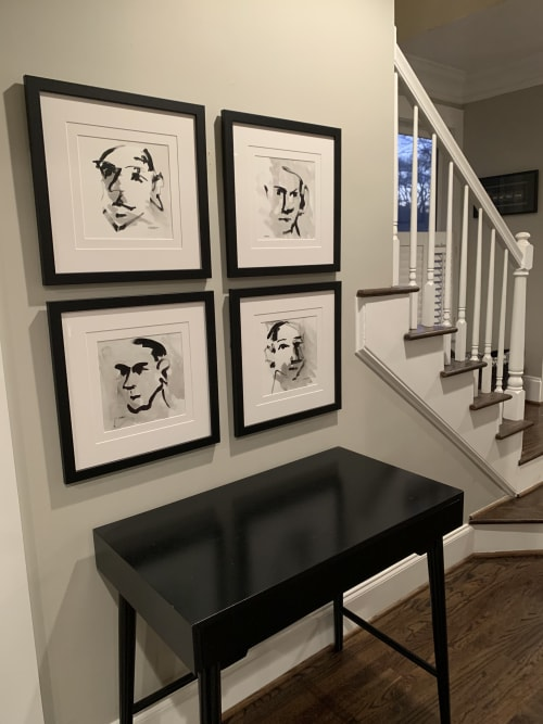 Paintings by Nancy Everett seen at Private Residence, Atlanta - Visage Series brings pizazz to family room