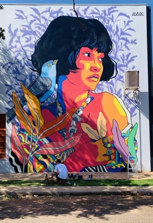 Murals by Wes Gama seen at Av. Arquiteto Nildo Ribeiro da Rocha, 338, Jardim Ipanema - Mural Rua