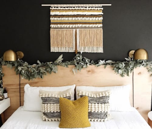 Macrame Wall Hanging by Erin Barrett  (Sunwoven) seen at Private Residence, Charleston - Textured Stripes on Black Warp