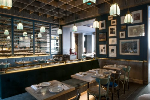 Lighting by Jeremy Maxwell Wintrebert seen at Brasserie Réjane, Paris - Glass Lanterns
