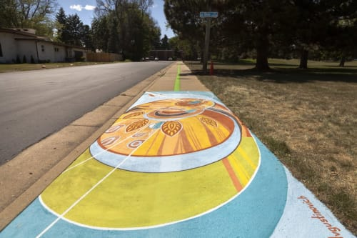 "Street Murals by Yulia Avgustinovich seen at Private Residence, Lakewood - Ground mural ""Movement"""