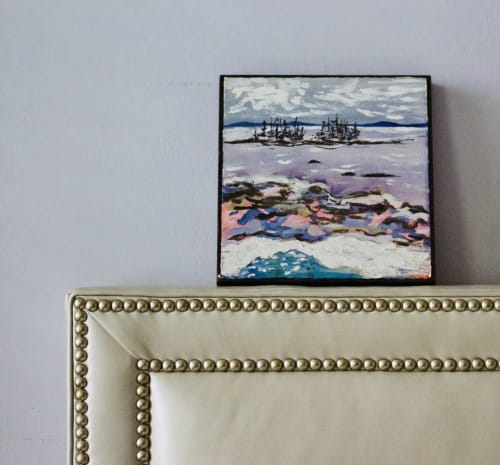 Paintings by willa vennema seen at Private Residence, Brooklyn - Islands and Ocean Series, Purple Sea