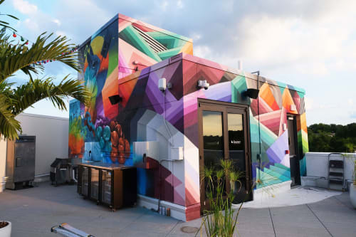 Murals by Nathan Brown seen at Bento Bodega, Nashville - Bento rooftop 4 sided mural