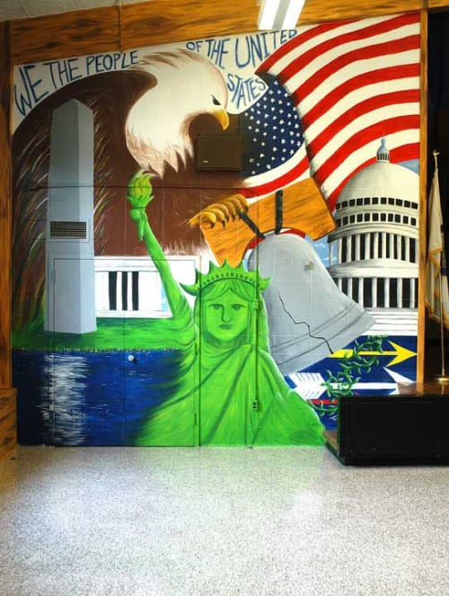 Murals by Bobbi Plentovich Lewis seen at A.M. Davis Elementary School, Richmond - History of the World