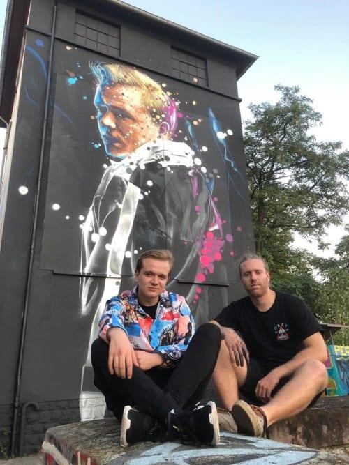 Street Murals by Raphael Gindt seen at Skatepark Hollerich, Luxembourg - Sleepwalker