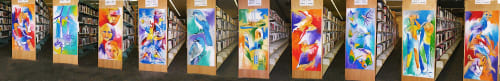 Paintings by Gus Lina Fine Art seen at Deltona Regional Library, Deltona - Artistic treatment to end panels