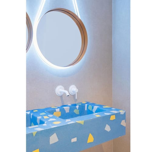 Tiles by Huguet Mallorca seen at Villa Chiquita Hotel Resort & Spa, Colonia de Sant Jordi - Terrazzo Washbasins