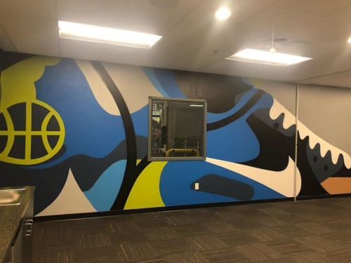Murals by Nosey42 seen at Nike Distribution center, Memphis - Nike Mural