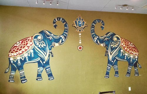 Murals by Ann Karp, Sideways Gaze Art & Sign seen at Koh Chang Thai Restaurant, Missoula - Stern Elephants and Lantern