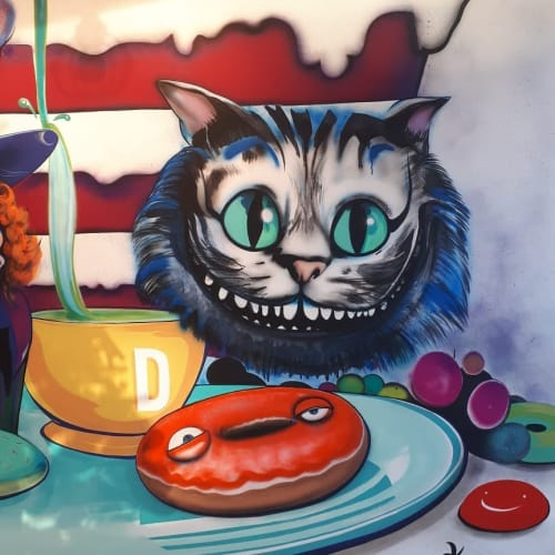 Murals by Kelly Wright Art seen at Cocoa Dot Cakes, Kamloops - Alice in Wonderland