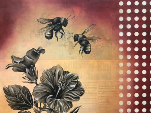 Paintings by Melissa Wagner at Four Barrel Coffee, San Francisco - Pollination