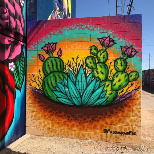 "Murals by Jesse Perry Art seen at The Churchill, Phoenix - ""1 1/2 Street Mural"""