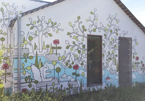 Murals by Emma Rytoft seen at Private Residence, Oxford - Garden scene