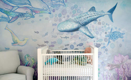 Murals by Nicolette Atelier seen at Private Residence - Ocean Watercolor Nursery Mural