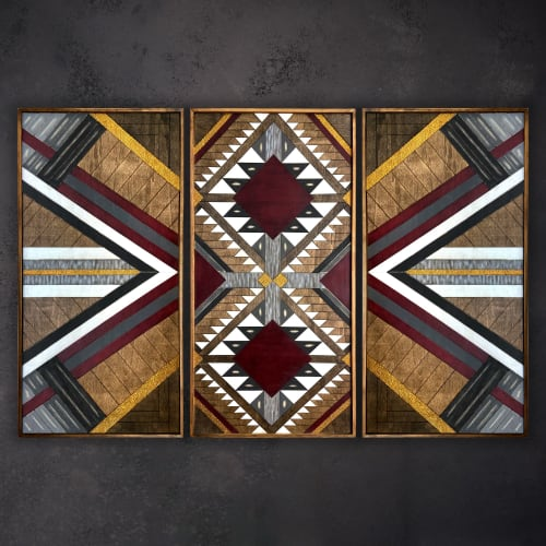 ''Aztec Trio Burgundy'' Wood Wall Art   Wall Hangings by Skal Collective