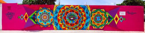 Murals by Frase Honghikuri seen at Cancún, Cancún - Ollin Mandala.